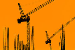 Building Construction with Cranes in the evening. Stock Images