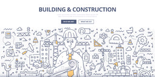 Building & Construction Doodle Concept. Doodle  illustration of construction contractor with architectural plans in hand. Building and construction services Royalty Free Stock Photos