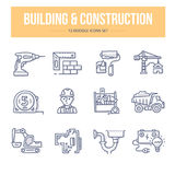 Building & Construction Doodle Icons. Doodle line icons of building, construction and home repair royalty free illustration