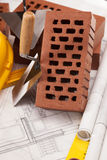 Building and construction equipment and brick Royalty Free Stock Photo