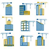 Building construction icons. Business modern urban office buildings under construction icons isolated vector illustration Stock Photography