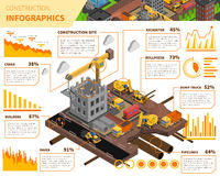 Building Construction Isometric Infographics Royalty Free Stock Photography