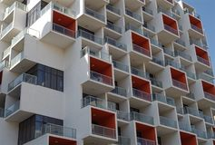 Building construction just completed, details of the facade with balconies stock photo