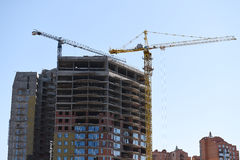 Building construction, lift crane. future and family life, sweet home Royalty Free Stock Photos