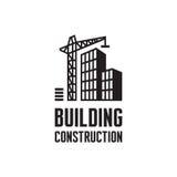 Building construction logo template vector illustration. Crane concept in black & white colors. Real estate sign. Reconstruction. Stock Photos