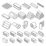 Building construction materials for repair isometric vector icons. Set of bricks and wooden blocks illustration Stock Image