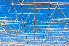 Building construction of metal steel framework. Outdoors royalty free stock photo
