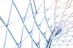 Building construction of metal steel framework outdoors. Background and texture stock images