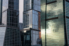 Building construction modern glass reflections Royalty Free Stock Photos