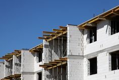 Building construction. New building construction white wall Royalty Free Stock Photography