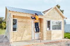Building construction of new woodhouse. As summer vacation house Royalty Free Stock Photography