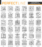 Building and construction outline mini concept symbols. Home repair tools modern stroke linear style illustrations set. Perfect thin line icons vector illustration