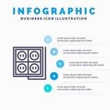 Building, Construction, Plug, Socket, Tool Line icon with 5 steps presentation infographics Background stock illustration