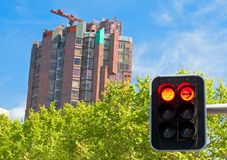 Building construction and red light Stock Image