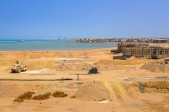Building construction at the Red Sea. In Egypt Royalty Free Stock Photos
