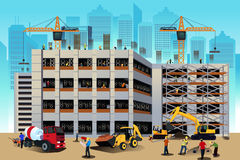 Building construction scene. A vector illustration of building construction scene Stock Images