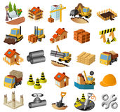 Building and construction set. A set of 25 clip-art icons relating to building and construction, such as cranes,  diggers, bulldozers, barriers and a hard hat Royalty Free Stock Photos