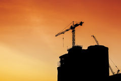 Building construction silhouette Royalty Free Stock Photography