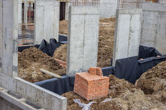 Building construction site with clay brick on pallet 2 Royalty Free Stock Images