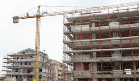 Building construction site with crane. Royalty Free Stock Photography