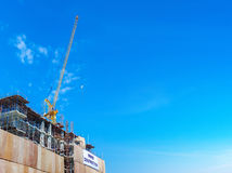 Building construction site with crane tower machinery Stock Image