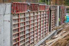 Building construction site with formwork elements Royalty Free Stock Images