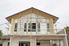 Building and Construction site of new home Stock Photos