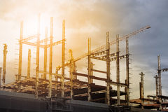 Building construction site on sunset. Building construction site at sunset Royalty Free Stock Photo