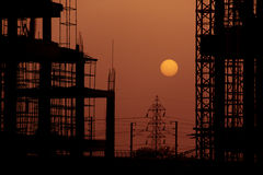 Building Construction site at Sunset Dusk Stock Image