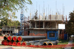 Building construction site with tubes Royalty Free Stock Images