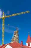 Building Construction Site Using High Crane. HDR Toning Image Royalty Free Stock Photos
