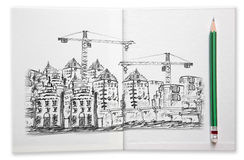 Building construction sketching by pencil on white book stock illustration