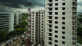 Building construction with street and cityscape stock video