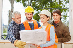 Building construction team planning Stock Photo