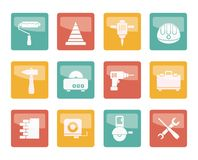 Building and Construction Tools icons over colored background royalty free illustration