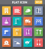 Building, Construction and Tools Icons set in flat style with lo Stock Photo
