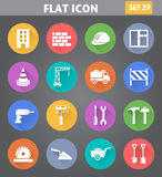 Building, Construction and Tools Icons set in flat style with lo Royalty Free Stock Photography