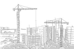 Building construction tower crane draw graphic design Royalty Free Stock Photo