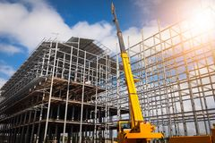 Building construction using mobile cranes royalty free stock images