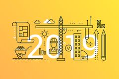 Building and construction 2019 word trendy composition concept banner. Outline stroke architecture planning icons. Lettering typography royalty free illustration