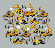 Building construction worker and equipment color objects. Color vector illustration. EPS8 Royalty Free Stock Photography