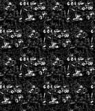 Building construction workers builders black seamless pattern. Stock Photo