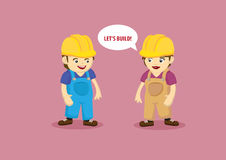 Building and Construction Workers Cartoon Characters Stock Photography