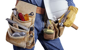 Building contractor carpenter man with tools on white Royalty Free Stock Photo