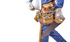 Building contractor carpenter man walking with tools Royalty Free Stock Image