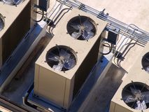 Building Cooling Assembly. Cooling fans for a large tower Stock Photography