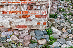 Building corner. Corner of the brick building and stone sidewalk Royalty Free Stock Photography