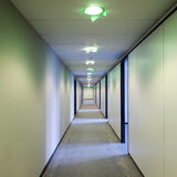 Building Corridor. In construction with open doors Stock Image