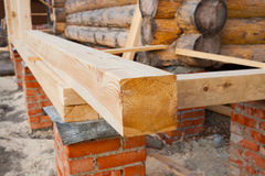 Building of country log house Stock Images