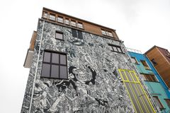 Building Covered with Cartoon in Berlin, Germany. Building Covered with Cartoon in Berlin City, Germany Royalty Free Stock Images